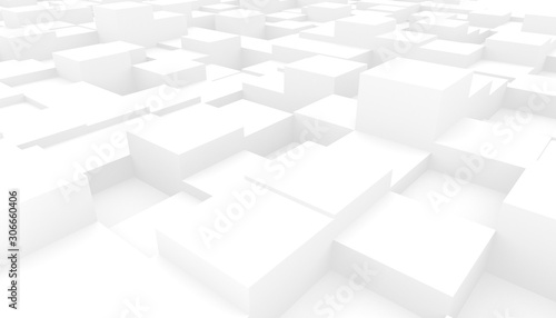 Abstract 3D white geometric background - 306660406