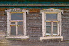 Two Windows Of An Old Rustic W...