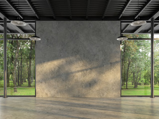 Fototapeta Industrialny Industrial loft style empty room with blank concrete wall 3d render,There are polished concrete floor and wall,black steel structure,There are large windows look out to see the nature
