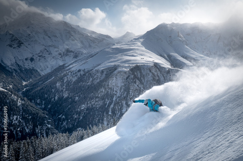 Snow spray skier in the backcountry Wallpaper Mural