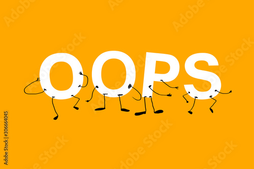 oops a funny humanized acronym with faces. AI white letters on Canvas Print