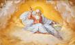 canvas print picture - Painted divine figure church of San Sebastiano Rome