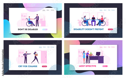 Fototapety, obrazy: Disability Employment and Dismissal Website Landing Page Set. Angry Boss Fired Employee. Handicapped Person Adaptation in Office or Coworking Zone Web Page Banner. Cartoon Flat Vector Illustration