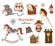 Nutcracker Collection.The Nutcracker, Letter, Mouse, Gifts, Holiday Decorations, Children's Toys. Hand-drawn Illustration On White Isolated Background