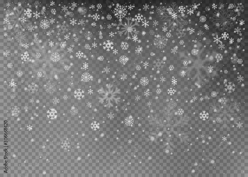 Obraz Christmas falling snow vector isolated on dark background. Snowflake transparent decoration effect. Vector illustration. - fototapety do salonu