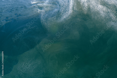 Fototapety, obrazy: Abstract liquid green ocean background with bubbles. Fresh underwater backdrop