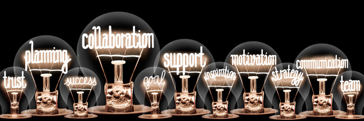 Light Bulbs with Collaboration Concept