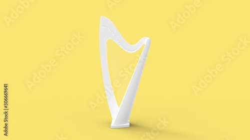 Obraz na plátně  3d rendering of a harp instrument isolated in studio background