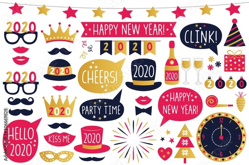 Obraz Happy New Year 2020 vector party signs and photo booth props, isolated on white - fototapety do salonu
