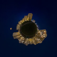 Little Planet Transformation Of Spherical Panorama 360 Degrees. Spherical Abstract Aerial Night View Multi-storey Buildings. Curvature Of Space.