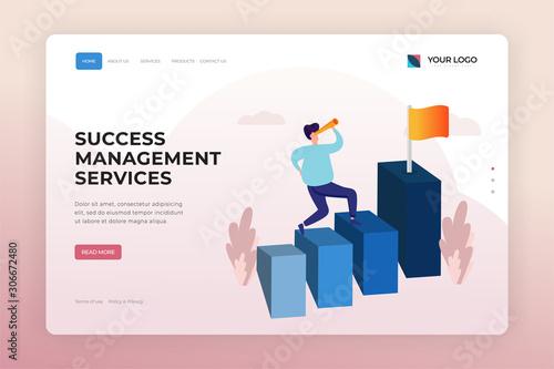 Success Management Services Landing Page Design Template Canvas Print