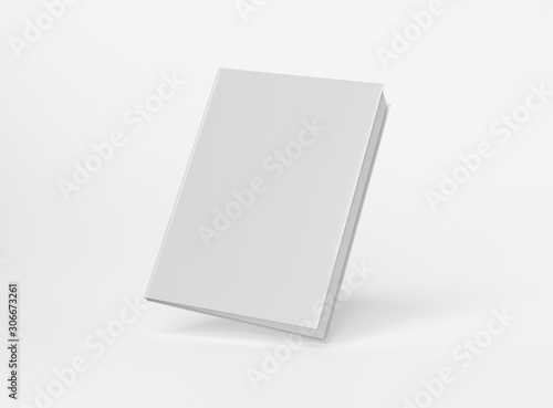 Obraz na plátně  Blank A4 book hardcover mockup floating on white background 3D rendering