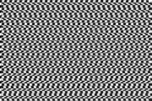 Intentional Heavy Glitch Distortion Effect: A Simple Checkerboard Pattern, Made Of Small Alternating Black And White Squares.