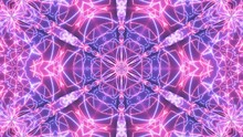 A Beautiful Geometrical Kaleidoscope Neon Illustration. Intense Blue And Pink Color Tones, Nice Patterned Shapes.