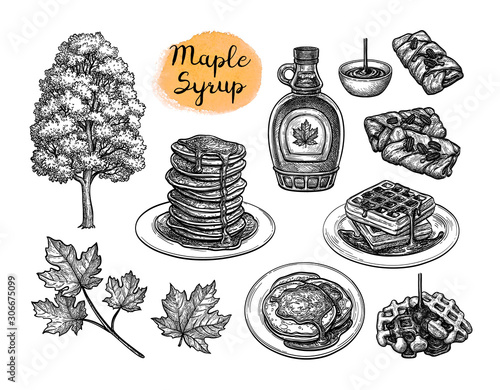 Fototapeta Ink sketches of desserts with maple syrup.