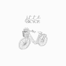 Hand Drawn Isolated Vintage Bike Bicycle With Flowers, Sketch, Doodle. Vector Illustration. Logo Branding Simple Line Art, Outlined, Linear