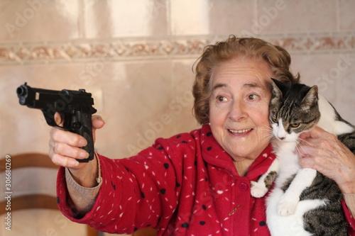 Hilarious lady protecting her cat Wallpaper Mural