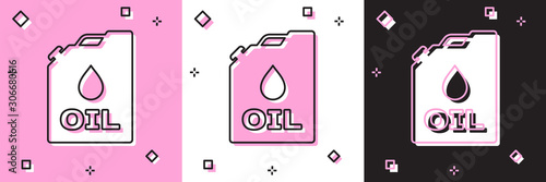 Cuadros en Lienzo  Set Plastic canister for motor machine oil icon isolated on pink and white, black background