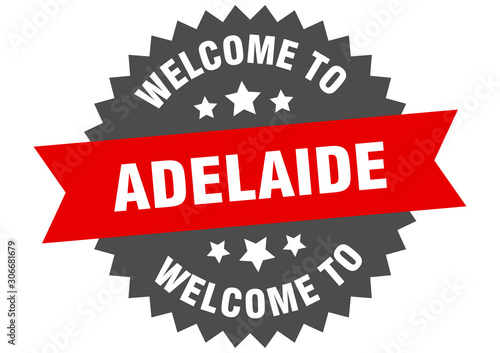 Photo Adelaide sign. welcome to Adelaide red sticker
