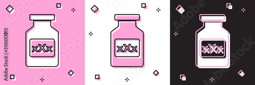 Set Medicine bottle with pills for potency, aphrodisiac icon isolated on pink and white, black background Canvas Print