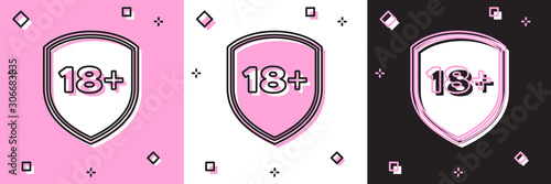 Set Shield with inscription 18 plus icon isolated on pink and white, black background Wallpaper Mural