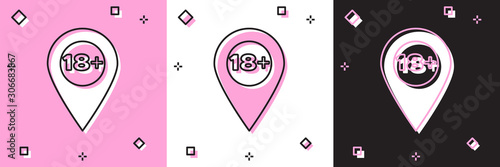 Set Map pointer with 18 plus icon isolated on pink and white, black background Canvas Print