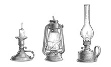 Old Vintage Oil Lamps And Cand...