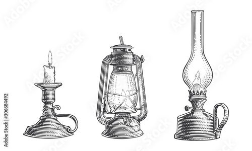 Stampa su Tela Old vintage oil lamps and candle engraving line illustration