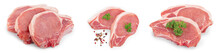 Sliced Raw Pork Meat Isolated ...