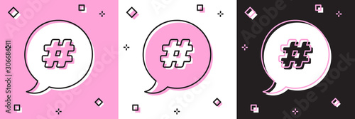 Obraz na plátně  Set Hashtag speech bubble icon isolated on pink and white, black background