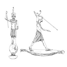 Sketch Of The Tutonkhamun's Wooden Sculpture 1370-1352 BC Found In The King's Tomb, Kings Valley In Egypt. Tutonkhamun With Harpoon.  Sketch Collection