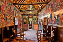 Inside The Church Of Archangel Michael At Pedoulas Village, Cyprus. It Is One Of The 10 Byzantine Churches Of Troodos Mountain Listed As UNESCO World Heritage Sites.