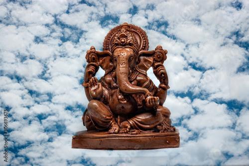 wooden statue of Hindu god Ganesha, Hindu religion
