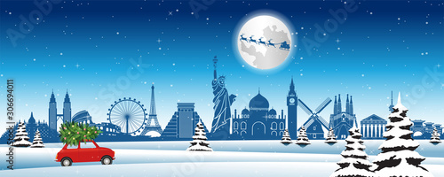Fototapeta Red car run across snow and world landmarks with Christmas tree to send gifts to everyone,vector illustration obraz