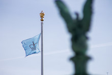 Blue Flag And Gold Crown At Columbia University In The City Of New York