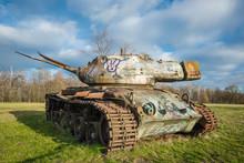 Abandoned Tank With Graffiti.