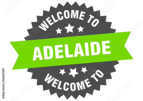 Adelaide sign. welcome to Adelaide green sticker Wallpaper Mural
