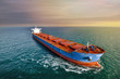 canvas print picture - aerial view of a cargo ship in the Channel