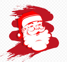 Christmas Red Composition With Santa Claus Face Silhouette, Design Element
