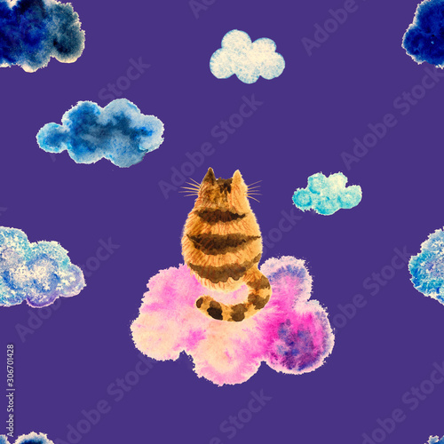 A funny hand drawn watercolor cat sitting on a cloud. A seamless pattern for children's design.