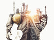 canvas print picture - Future factory plant and energy industry concept in creative graphic design. Oil, gas and petrochemical refinery factory with double exposure arts showing next generation of power and energy business.