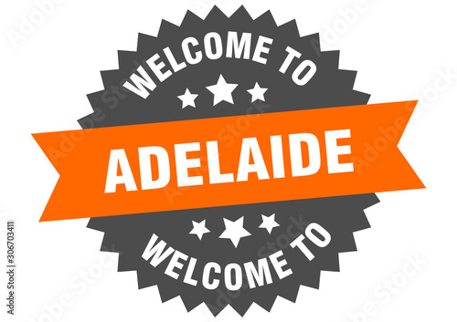 Photo Adelaide sign. welcome to Adelaide orange sticker