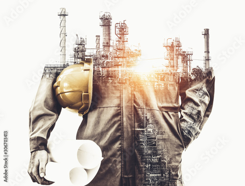 Future factory plant and energy industry concept in creative graphic design Canvas Print