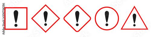 Danger sign. Warning icon. Hazard warning sign. Wallpaper Mural