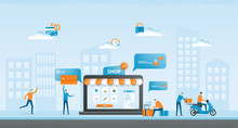 Flat  Illustration Design Business Online Shopping  And  Business E-commerce  Concept