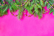 canvas print picture - Christmas and New Year theme decorated background, top view, with Christmas tree branches and ornaments
