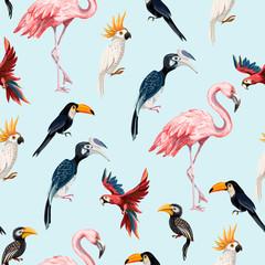 FototapetaSeamless pattern with junngle bird such as flamingo, parrot, toucan. Vector.