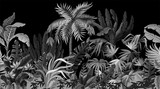 Seamless border with jungle trees in monochrome style.