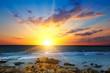 Leinwandbild Motiv Sun rise over the sea. The concept is travel.