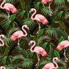Panel Szklany Podświetlane Las Seamless pattern with flamingo and tropical leaves. Vector.